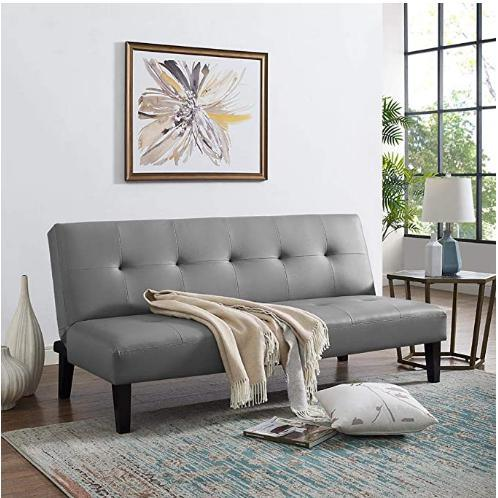 Home On Tufted Futon Gray Sofa Bed