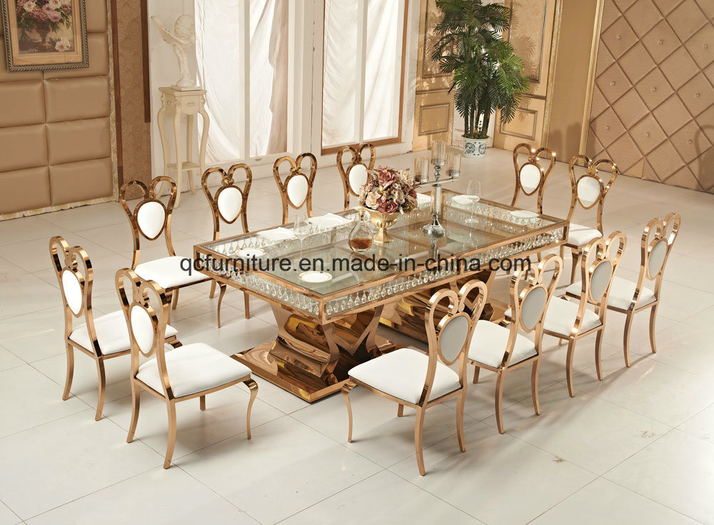 China Luxury Rose Golden Metal Frame Wedding Dining Table With Crystal