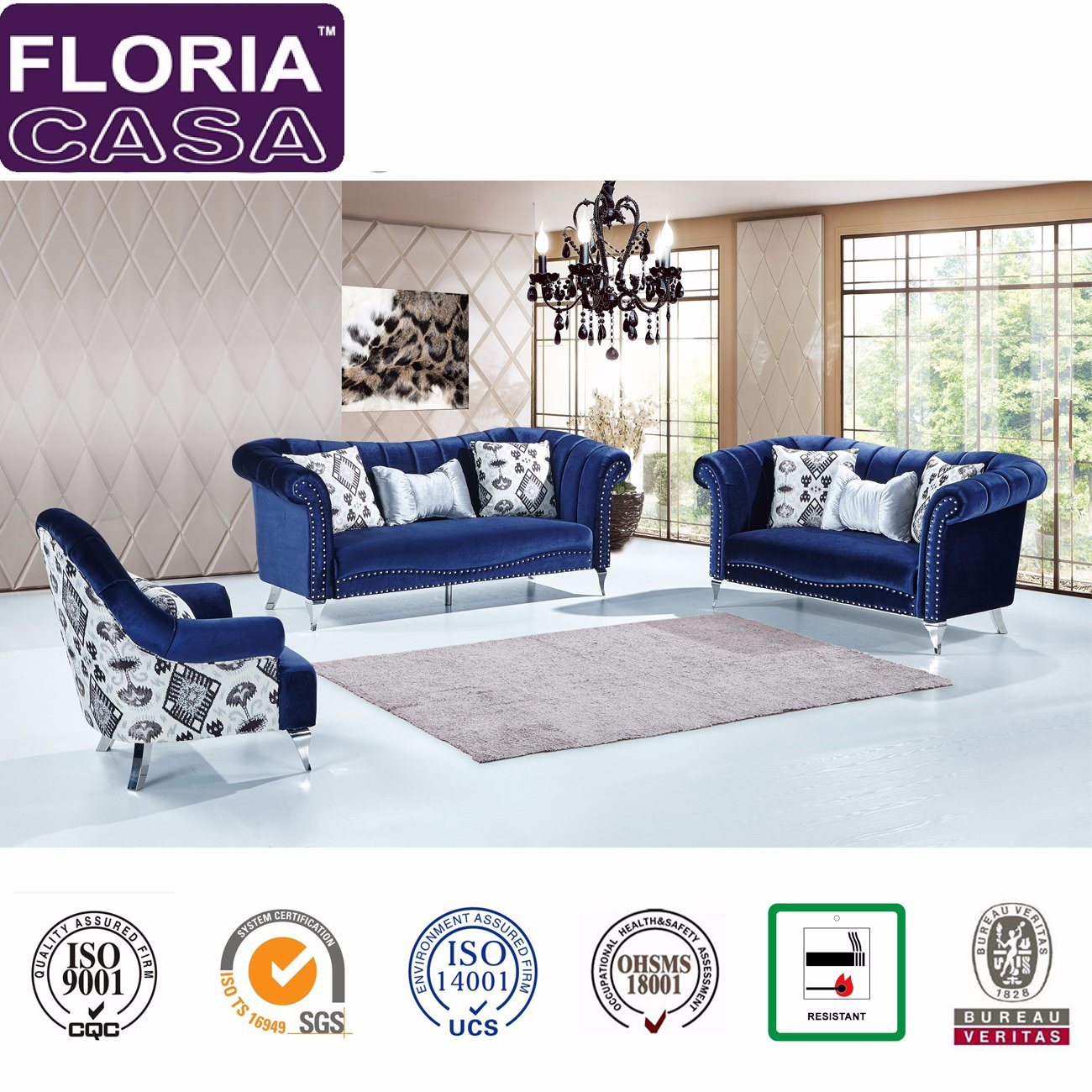 Home Furniture Divani Fabric Sofa Set
