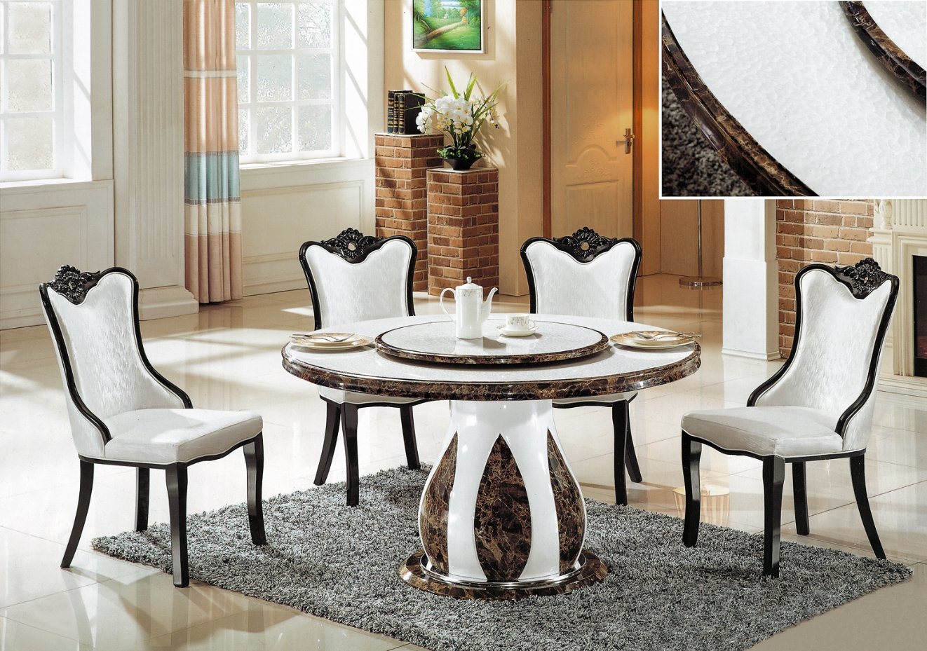 China Modern Design Marble Table Top Dining Table Dining Chair Good Quality Elegant China Restaurant Furniture Dining Table