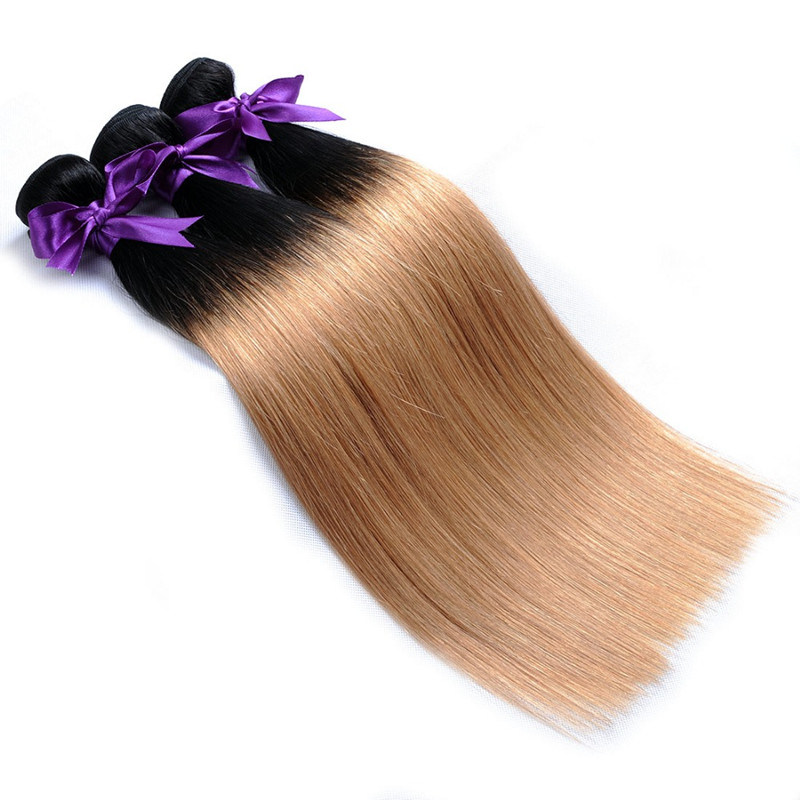 China Ombre Brazilian Hair 1b 27 Straight Hair Weave Honey Blond