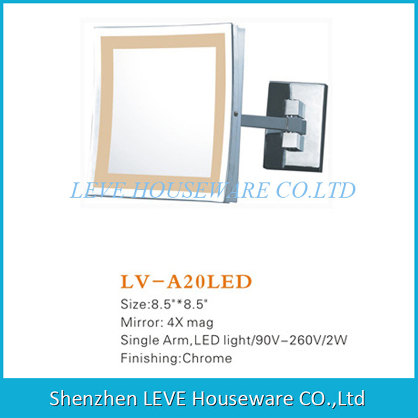 China Leve Lv A20led Led Mirror Square Wall Mount And 4x Magnify