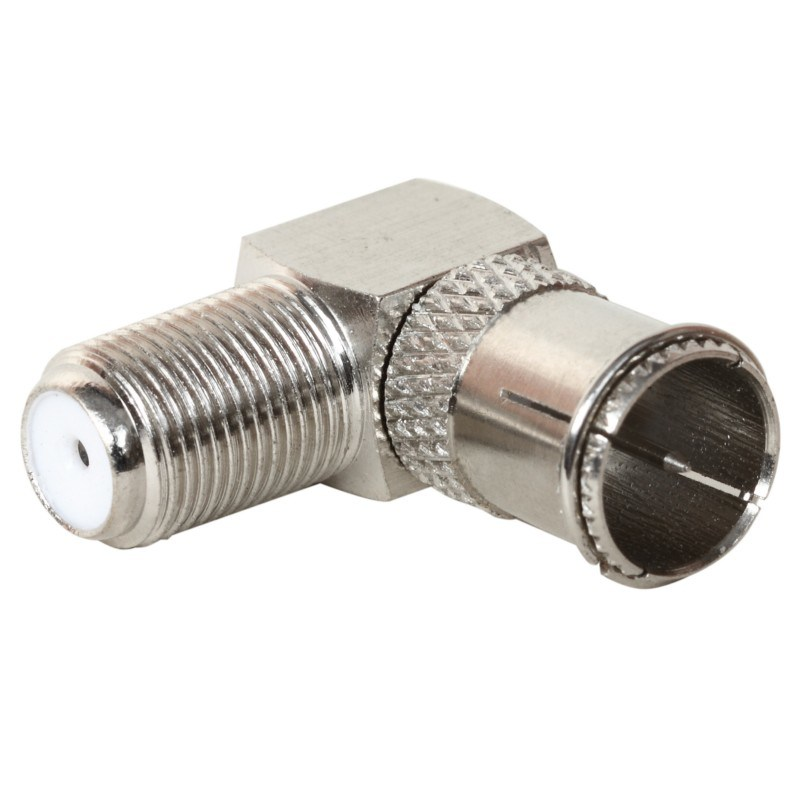 Right Angle F Female to F Quick Male Connector