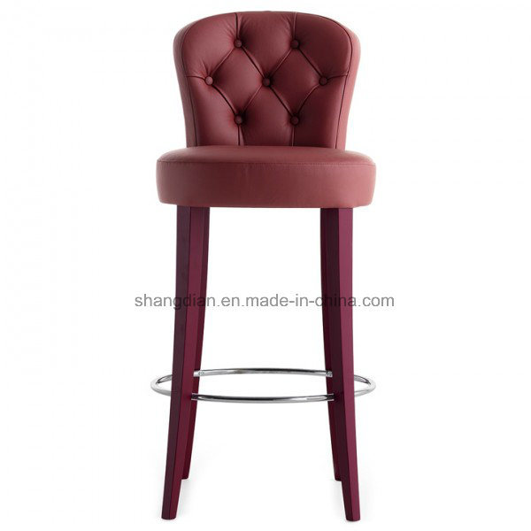 High Legs Wooden Restaurant Bar Stool with Metal Circle (ST0019) pictures & photos