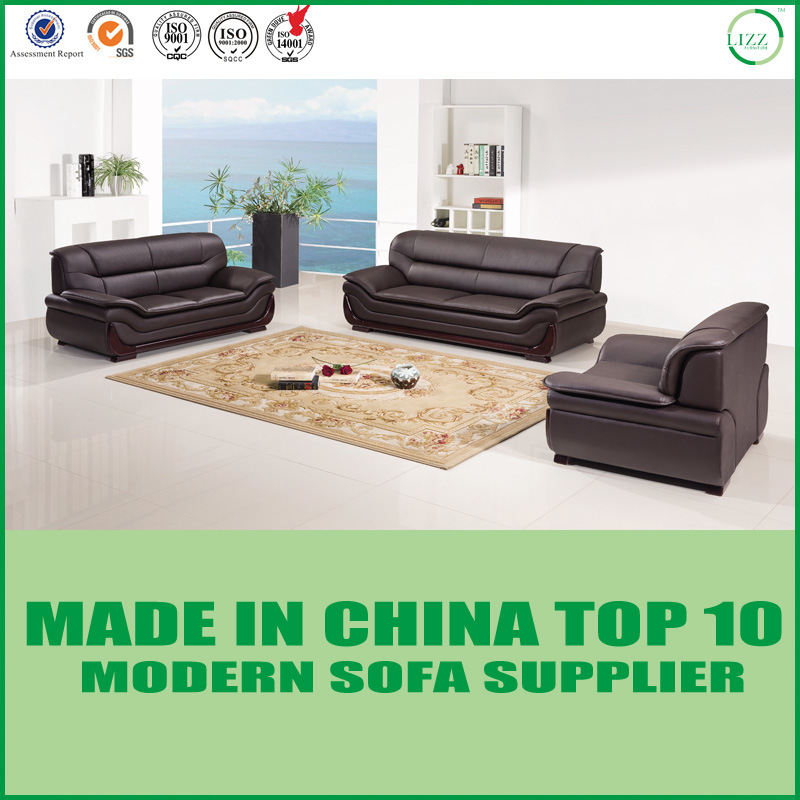 [Hot Item] Modern Cheap Office Wooden Leather 1+2+3 Sofa