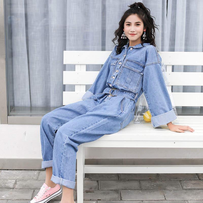 New Women Long Sleeve Single Breasted Denim Jeans Jacket Top + Long Leg  Denim Straight Pant Suit 2 Pieces Set Casual Work Suit Ladies Jeans Apparel  Denim ... 9642c94dc7