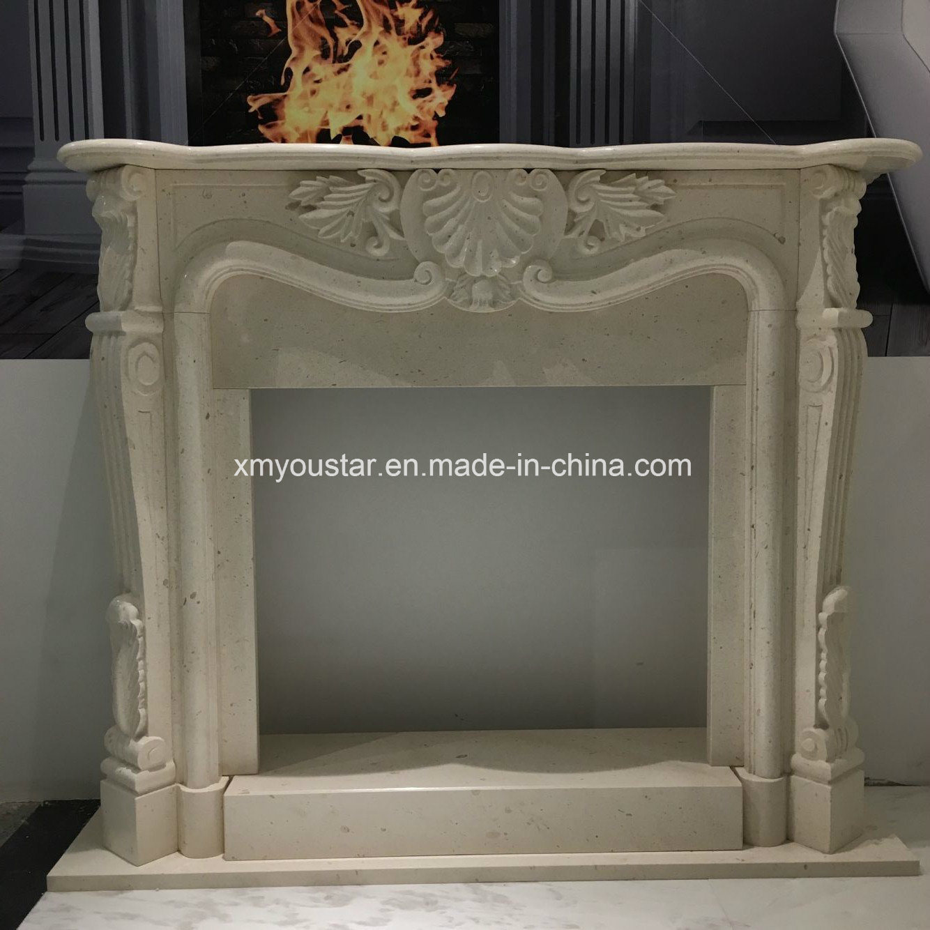 China Natural Stone Modern Style Home Decoration Carving Gray Marble Fireplace China Stone Fireplace Modern Fireplace