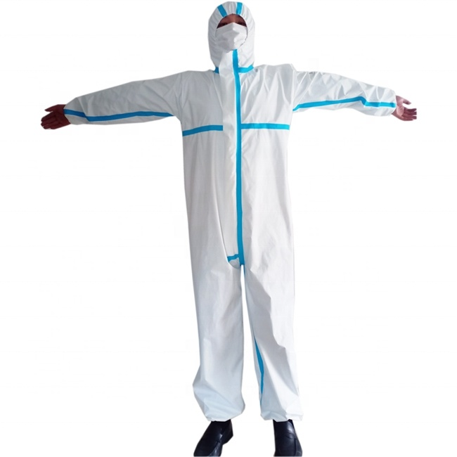 Extra Large Hooded Disposible Poly Coveralls Plastic Suit