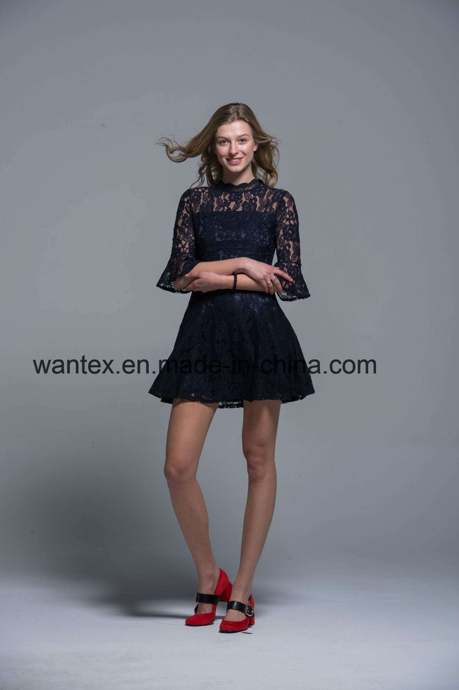 Ladies Lace Dress 100% Cotton Spring Autumn Fashion Hollow Black