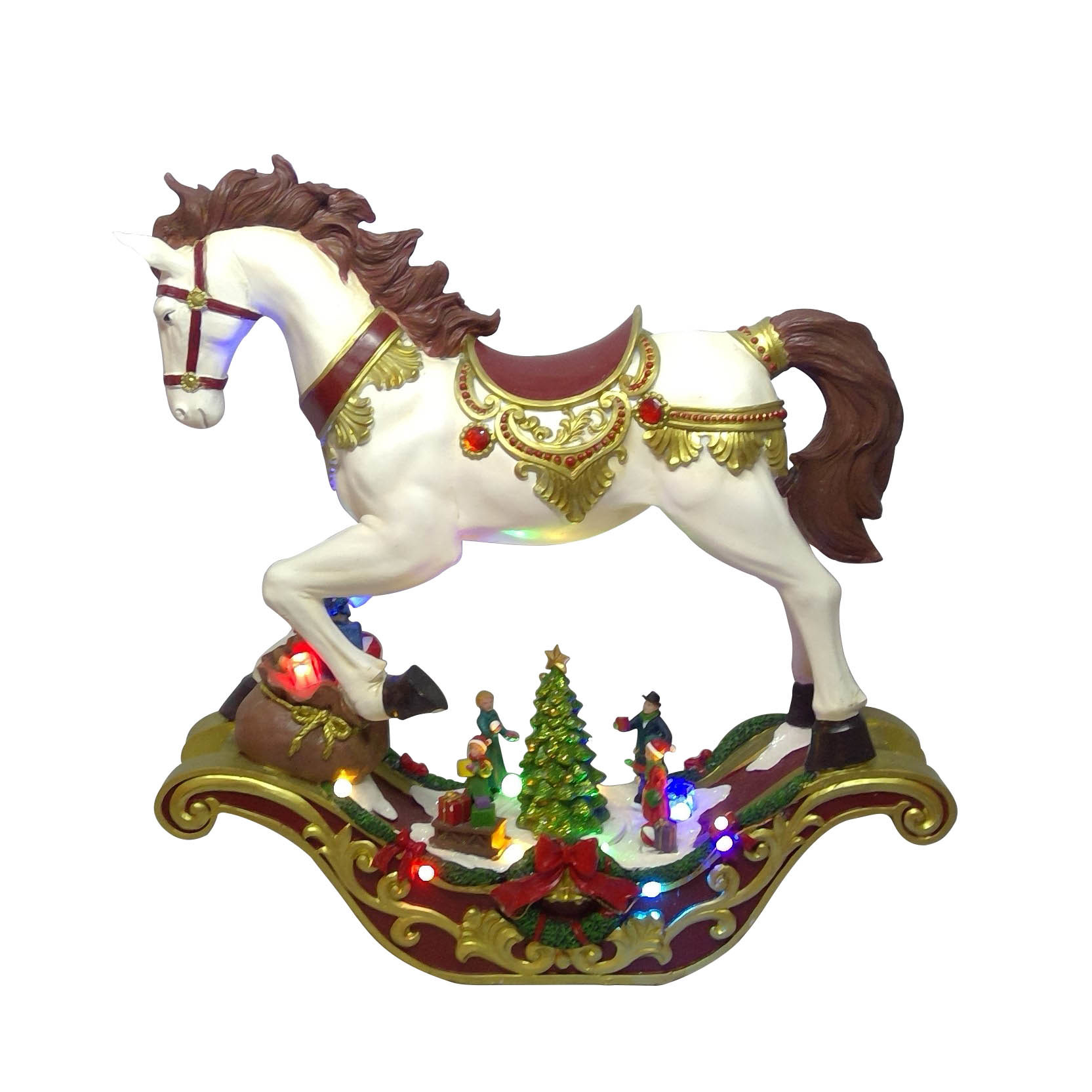 China Wholesale Oem Bsci Factory Xmas Scene Christmas Decor Polyresin Led Rocking Horse With Music Photos Pictures Made In China Com