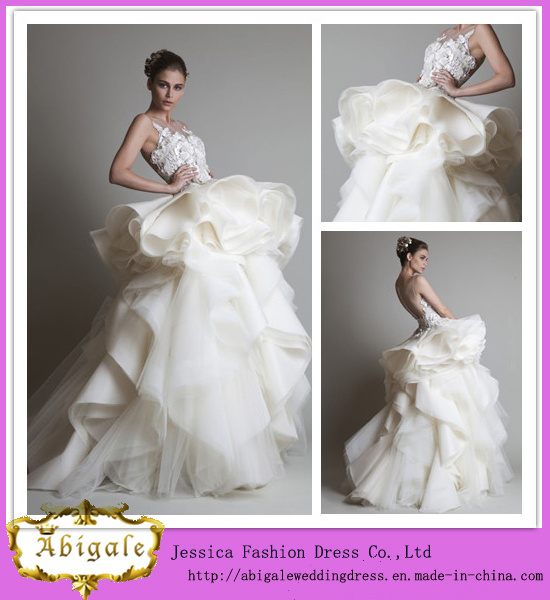 China Latest Designs Floor Length A-Line Lace Appliqued Organza ...