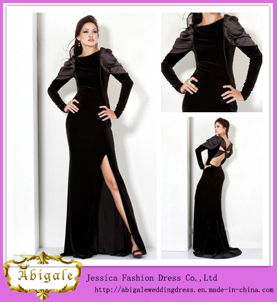 China Latest Fashion Floor Length A-Line Long Sleeve Side Slit Black ...