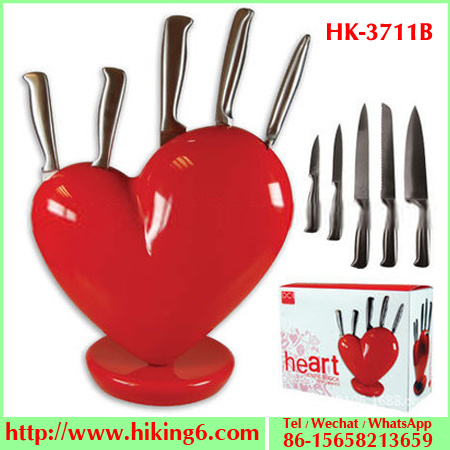 Heart Knife Block Red Kitchen Set With