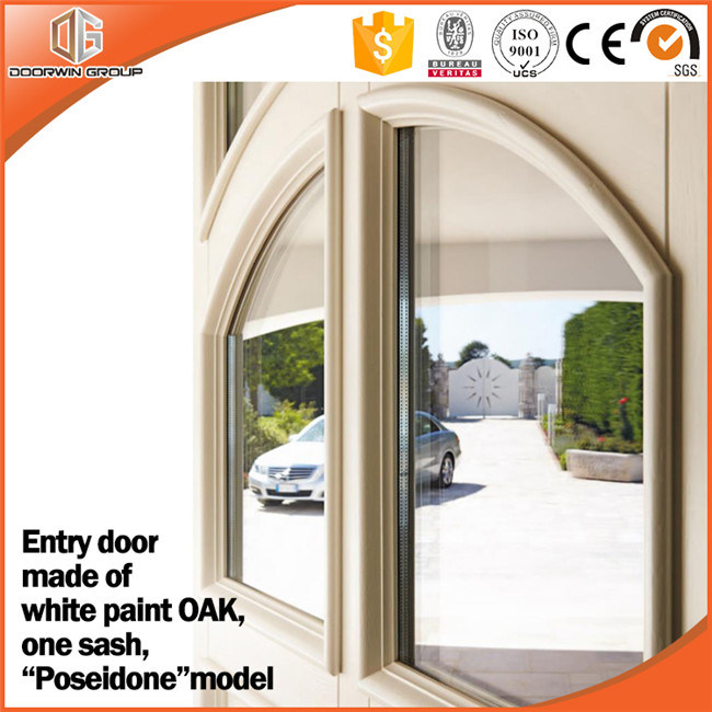China Oak Interior Wooden Double Safety Door Arch Top Design Glass