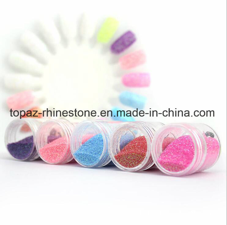 China Gradient Color Rainbow Kits False Nails 5 Sizes Giltter Powder ...