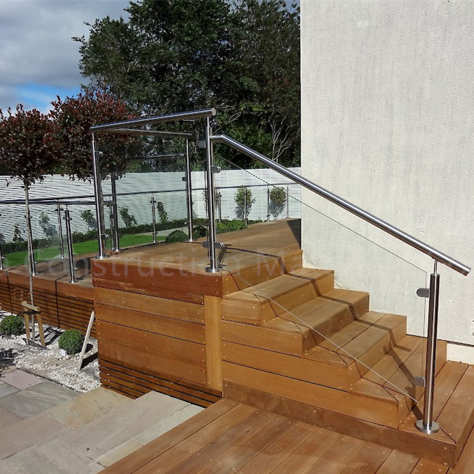 Indoor Plexiglass Stair Handrail Stainless Steel Post Glass Railing
