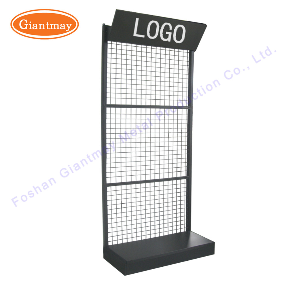China Floor Standing Metal Grid Mesh Hanging Wire Display Stand
