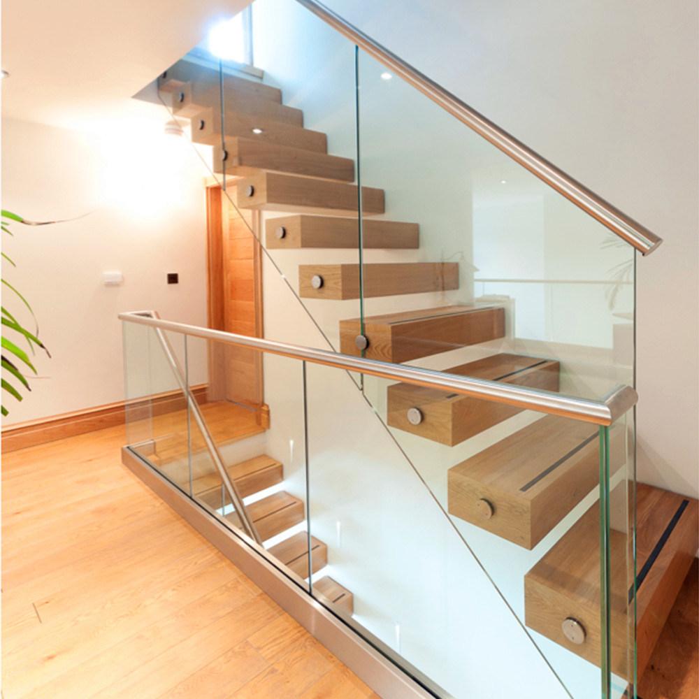 China Indoor Hot Sale Modern Tempered Glass Balustrade Floating Wood