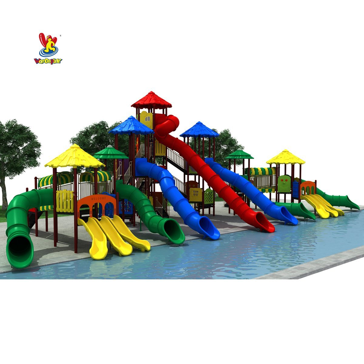 GS TUV Standard Plastic Toy Kids Slides Outdoor Amusement Park Swimming Pool Playsets Children Water Park Games Playground Equipment