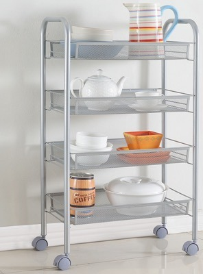 [Hot Item] 4 Tiers Rolling Kitchen Cart Mesh Trolley