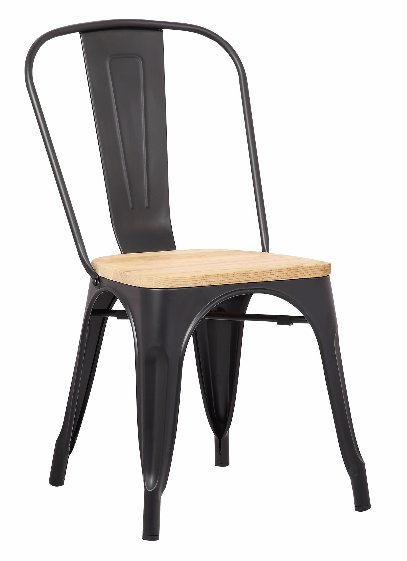 Hot Item Tolix Chair Metal Chair Gray Wooden Seat Tolix Style Metal Indoor Outdoor Stackable Chairs With Back