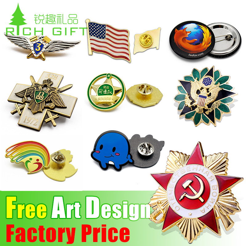 china no moq custom logo wholesale souvenir lapel pin metal  button  tin  police  army  military  flag