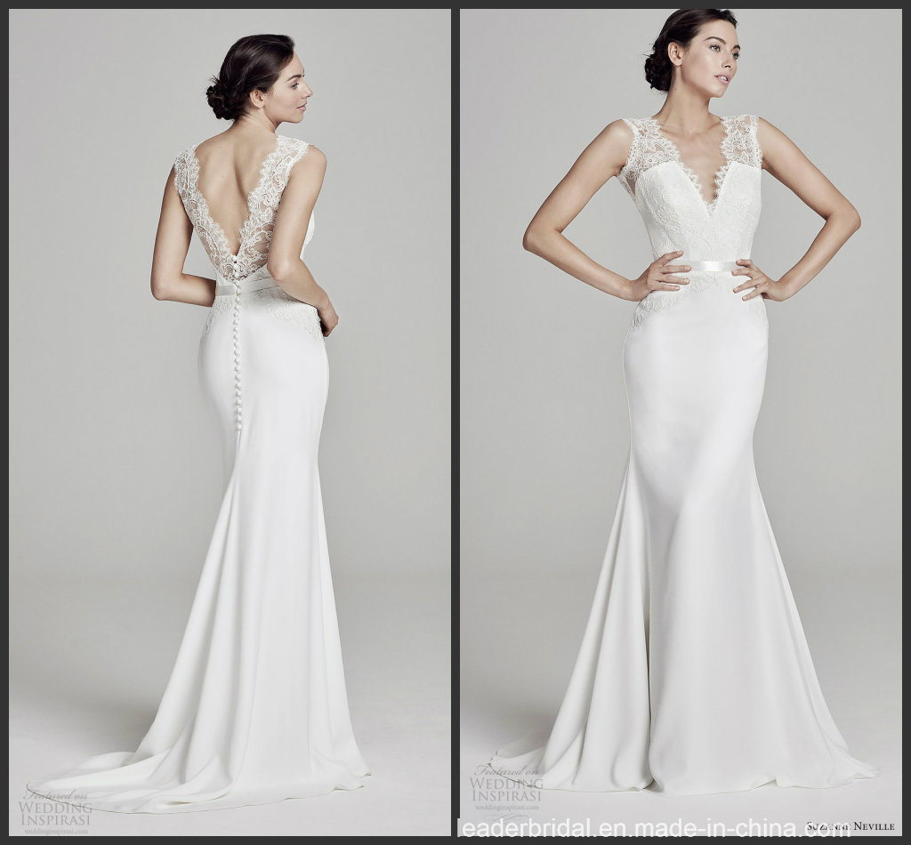 China Cap Sleeves Lace Bridal Gown Itlay Satin Wedding Dress