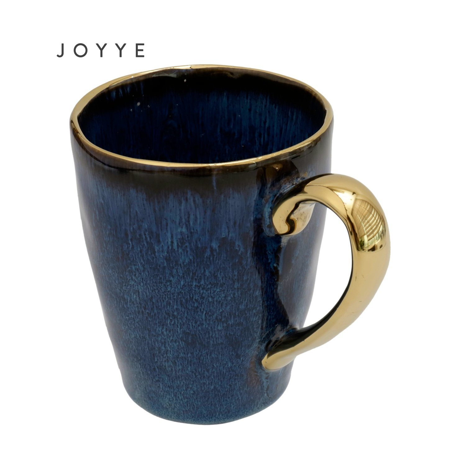 China Unique Design Glossy Blue Reactive Gold Handle Ceramic Mug China Gold Rim And Coffee Mug Price