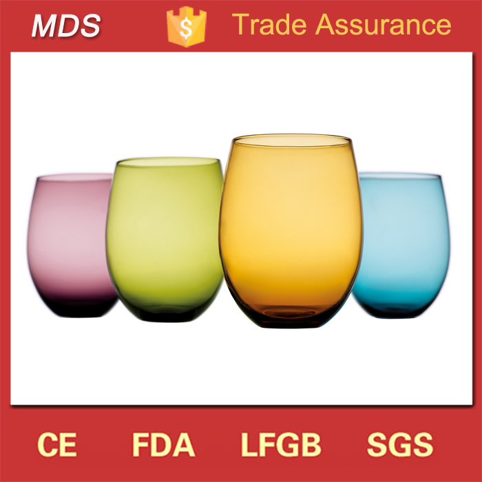 Hot Selling 14oz Color Drinkware Colored Stemless Wine Glass