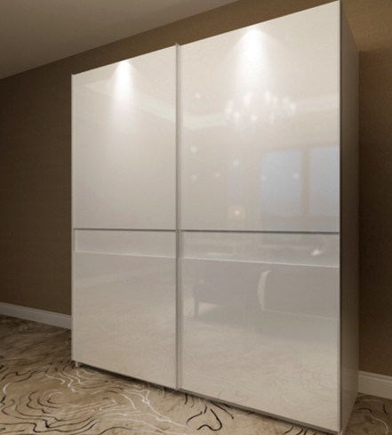 Customized High Gloss PVC White Color Sliding Door Wardrobe System