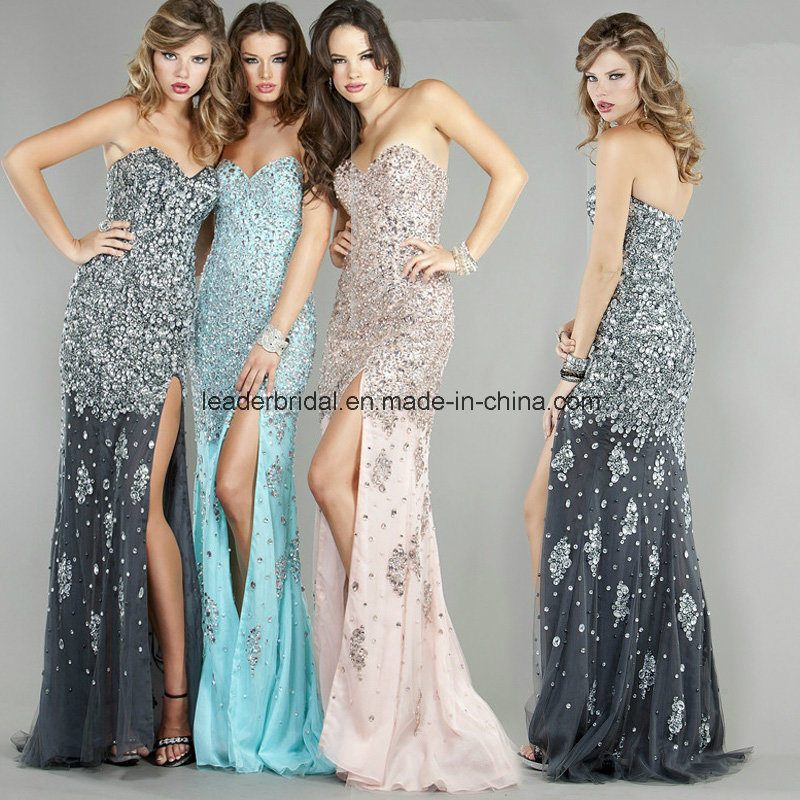 China Rhinestone Crystal Evening Ladies Gowns Side Split Prom Party ...