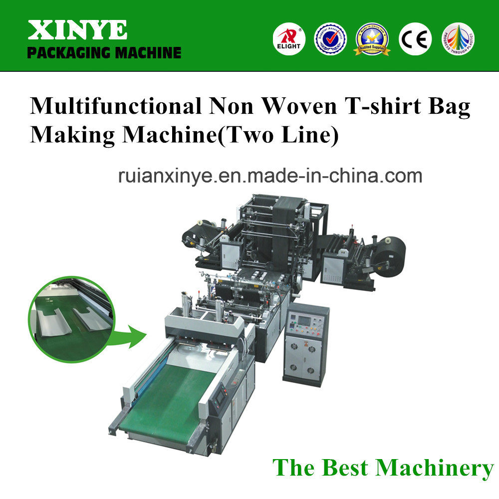 High Speed Two Line Non Woven T-Shirt Bag Making Machine Price pictures & photos