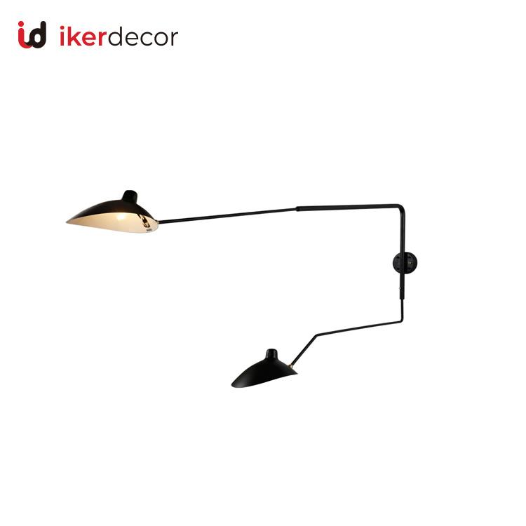 Black Double Swing Arm Wall Lamp, Double Swing Arm Wall Light