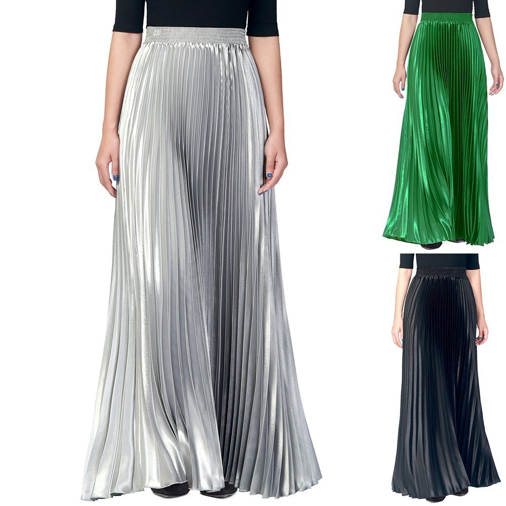 Elastic Waist Pleated Flared Muslim Long Maxi Skirt for Women