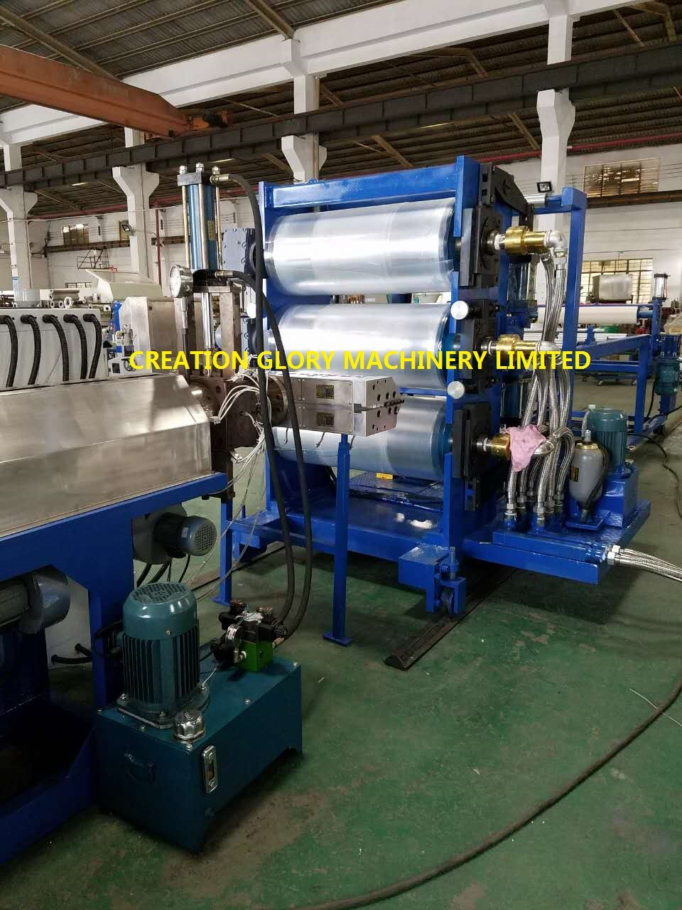 Three Horizontal Roller Calendar Plastic Sheet Extrusion Production Line