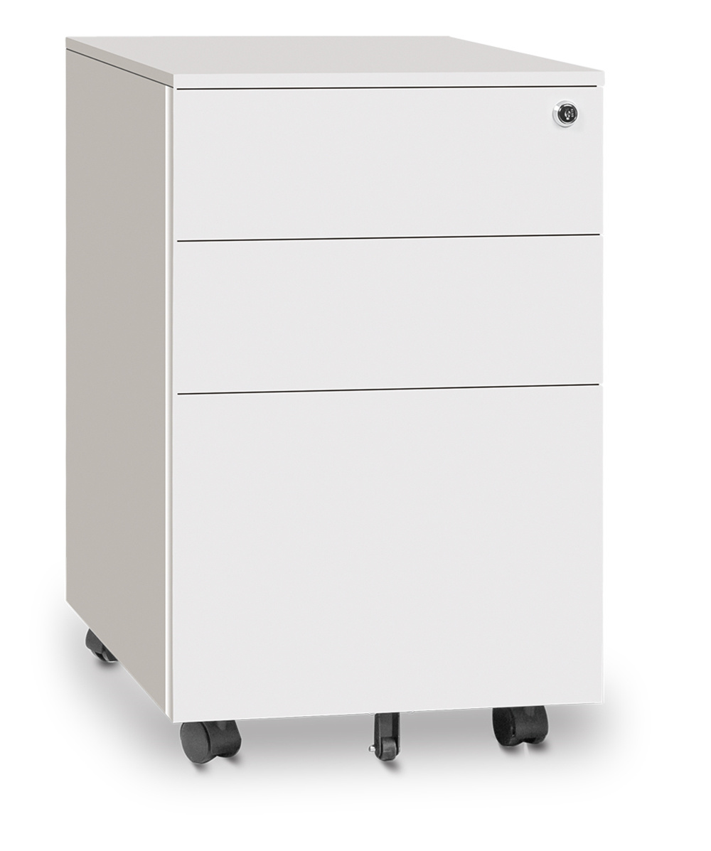 China White Color Office Use 3 Drawer Under Table Filing Metal Storage Mobile Pedestal Cabinet