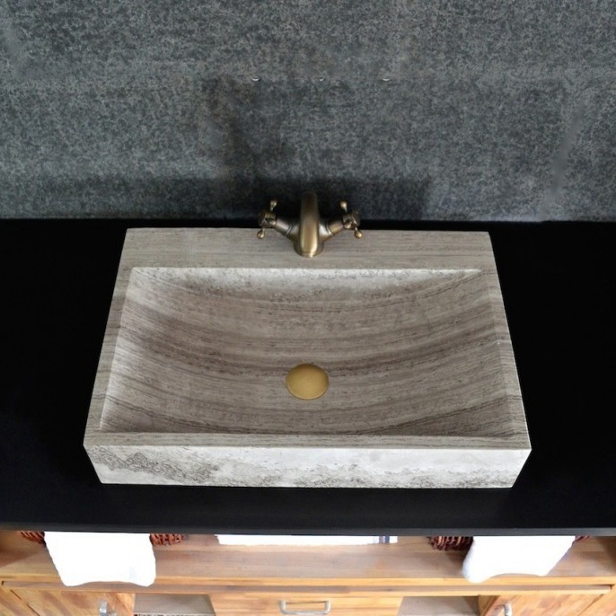 China Modern Natural Stone Bathroom Vessel Sink China Stone