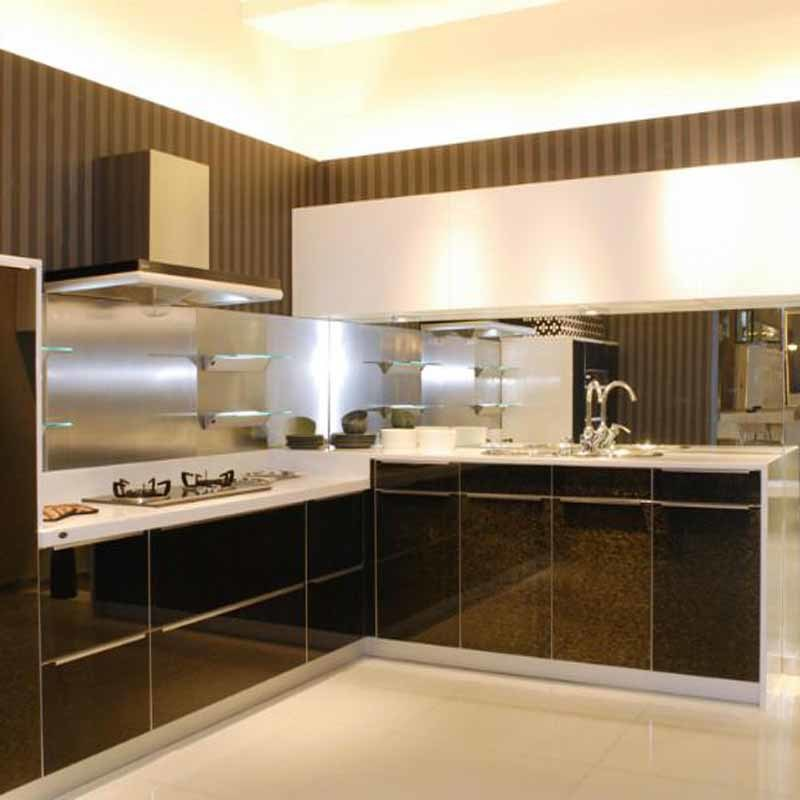 Classic Black White High Gloss Paint Kitchen Cabinets