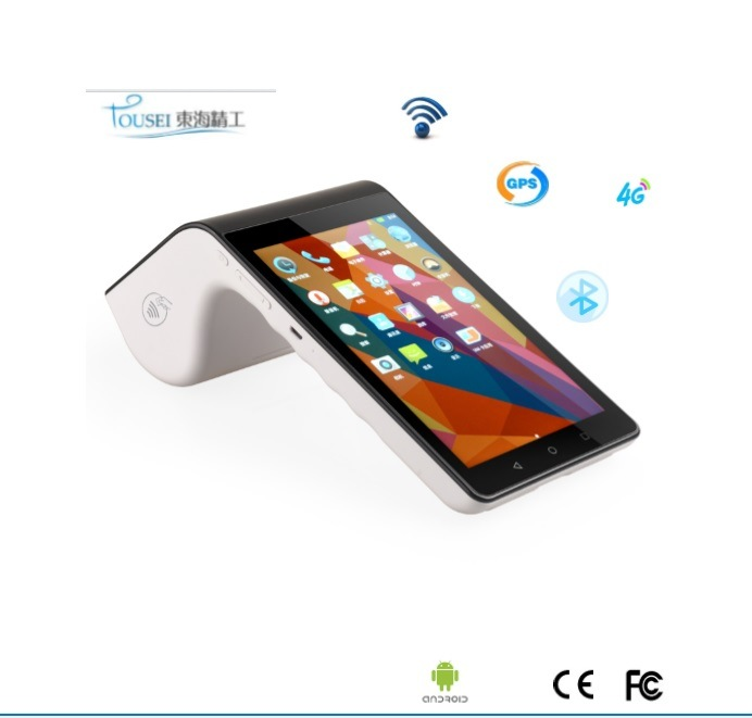 [Hot Item] White Portable Android 7′′ Touch Screen NFC MIFARE Chip Card  Reader All in One POS Terminal with Bluetooth WiFi 4G Printer and Scanner