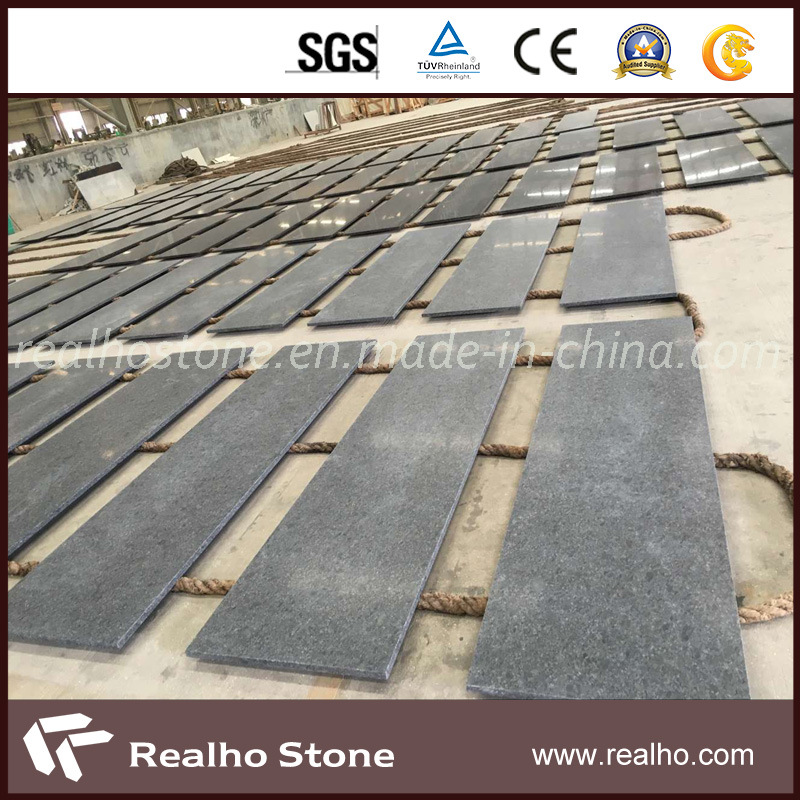 China Steel Grey Black Leather Finish Granite Countertops For Kitchen