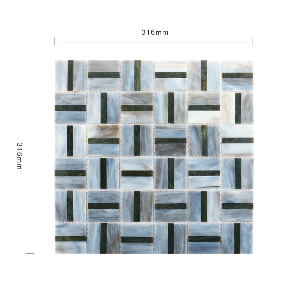 China New Designs DIY Black Kitchen Wall Tiles Stained Glass Mosaic ...