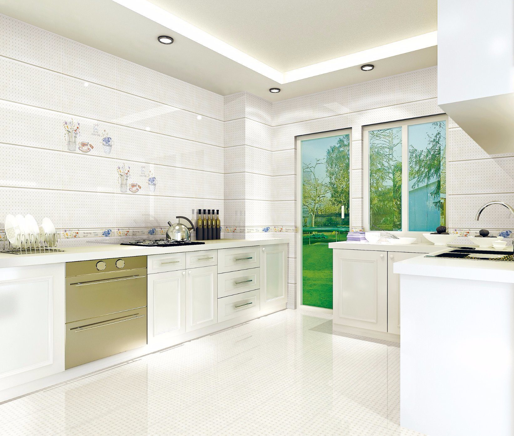 China Flower Design Ceramic Wall Tile For Kitchen With Cheap Price