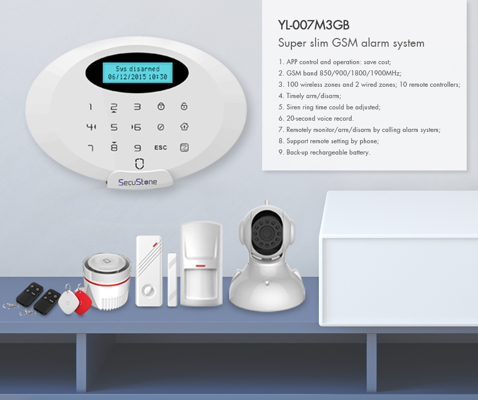 [Hot Item] New Beautiful Design GSM Alarm System with Wireless Sensors and  Detectors