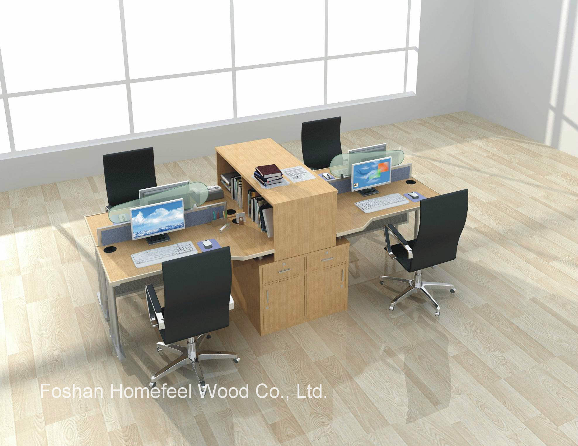 [Hot Item] 36 Seater Office Partitiion Staff Working Desk Call Center  Workstation (HF-YTQ36)