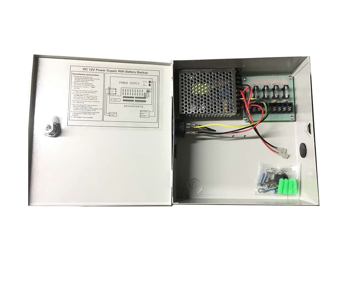 4CH 5AMP POWER SUPPLY ADAPTER BUILT IN PTC FUSE ADJUSTABLE OUTPUT VOLT CCTV