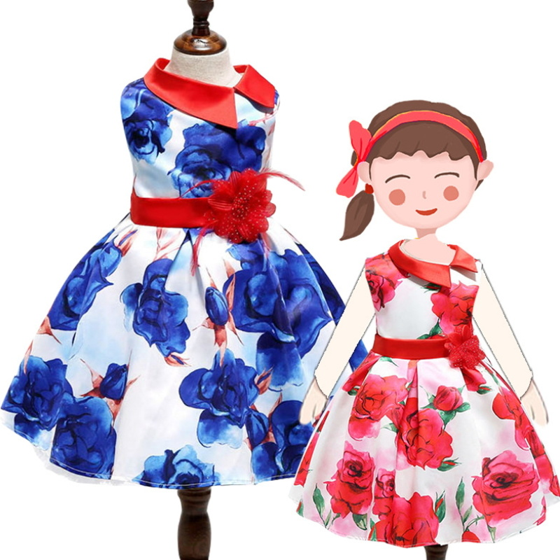 Hot Item Kids Summer Sleeveless Dress Baby S Fl Frocks Performance Wear Birthday Party Concert Costume