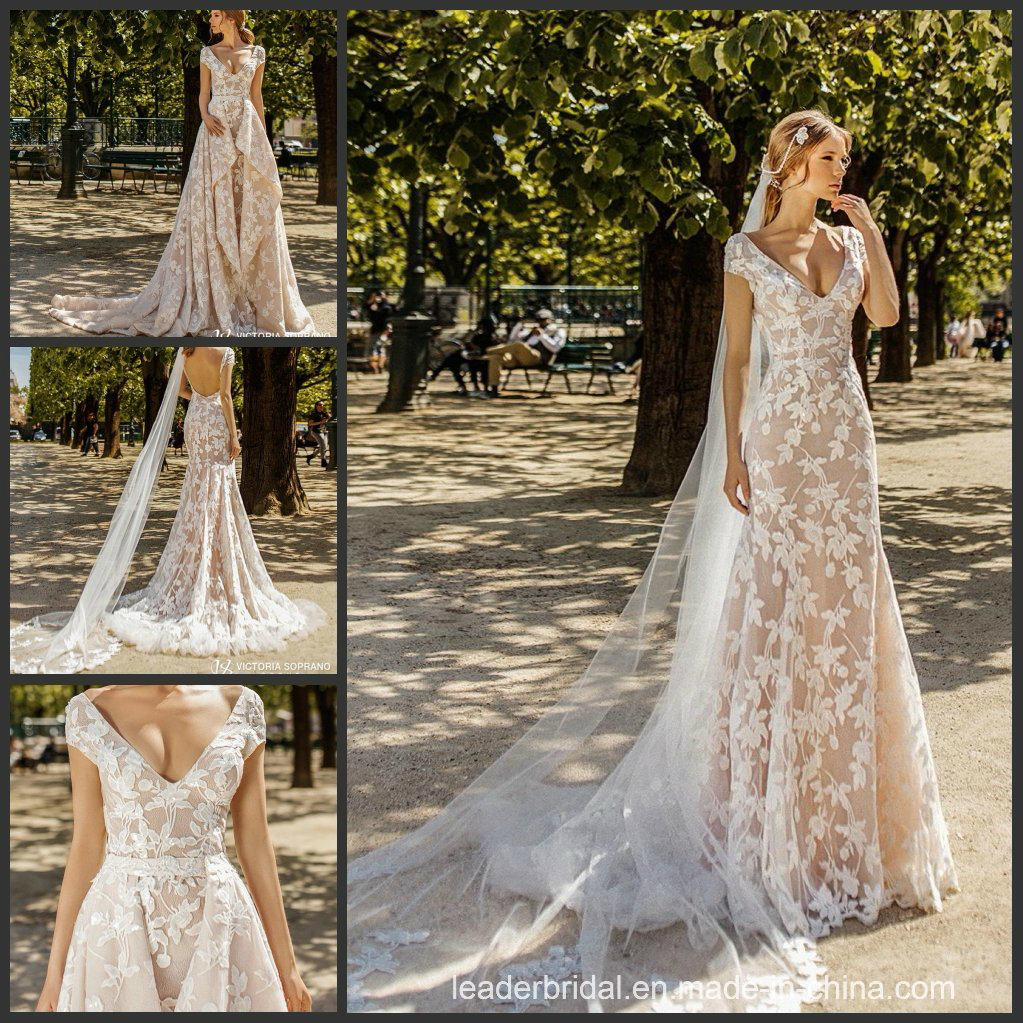 05104a18da4b0 China 2019 Custom Wedding Dress Cap Sleeves Lace V-Neck Lace 2 in 1 Bridal