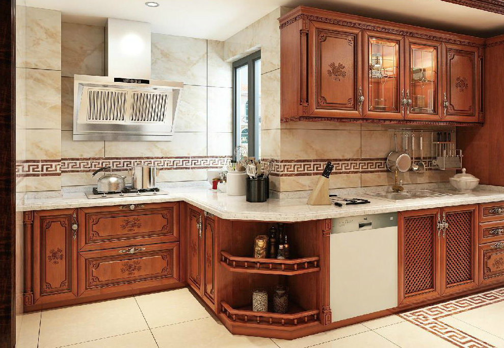 China American Style Luxury Kitchen Furniture Solid Wood ...