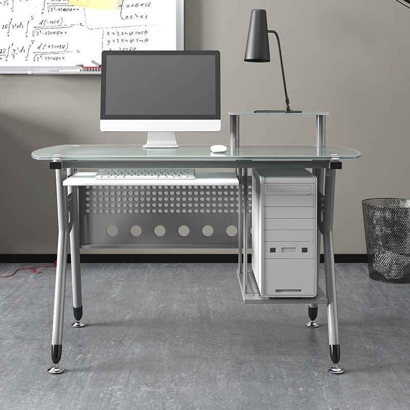 China Home Office Glass Computer Table With Metal Frame China Computer Desk Writing Desk