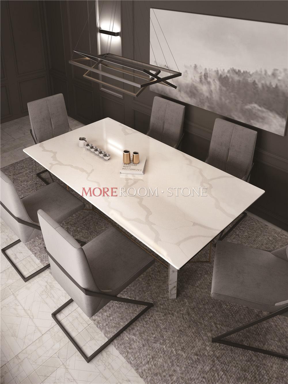 China Custom White Calacatta Quartz Stone Top Dining Table